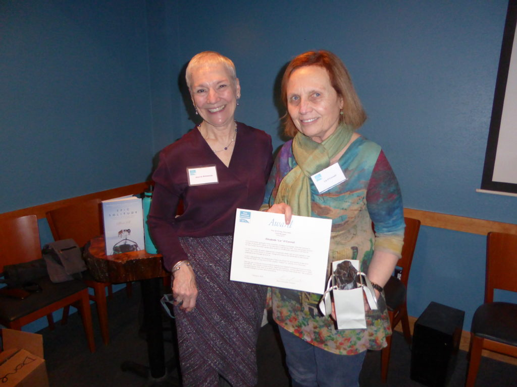 Liz O'Connell (r), 2020 Gold Nugget Award Recipient with Sherrie Simmonds, APC President